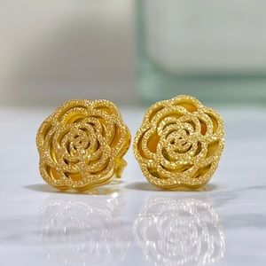Chanel Style Gold Camellia Flower Earrings